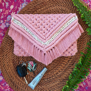 Macrame Clutch In Egyptian Rose