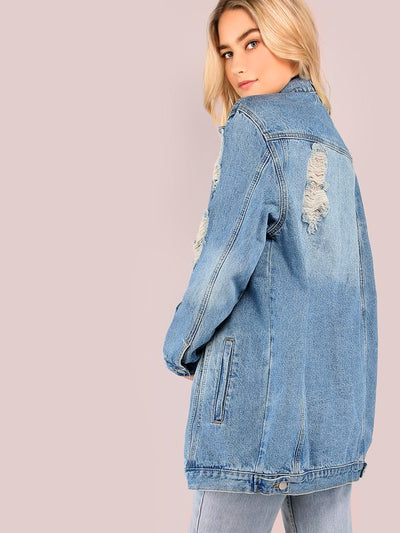 Light Mineral Washed Distressed Denim Jacket DENIM img 2