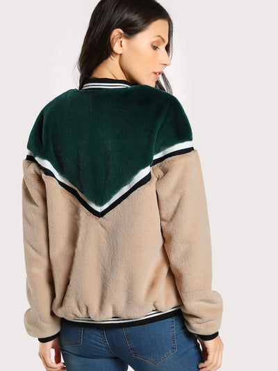 Color Block Fuzzy Bomber Jacket img 2