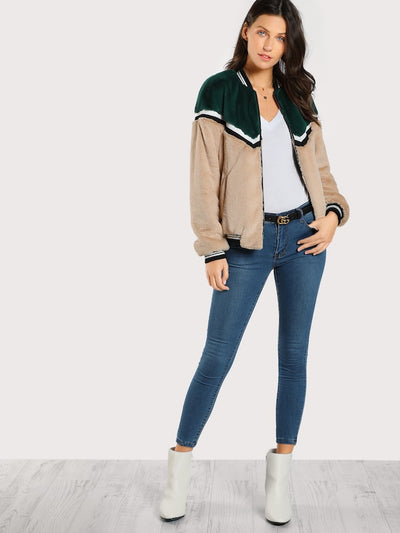 Color Block Fuzzy Bomber Jacket img 4