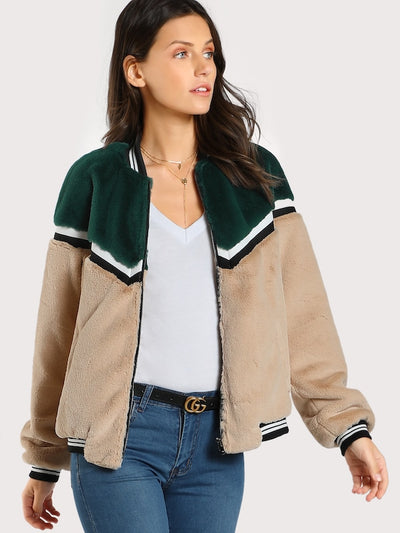 Color Block Fuzzy Bomber Jacket img 1