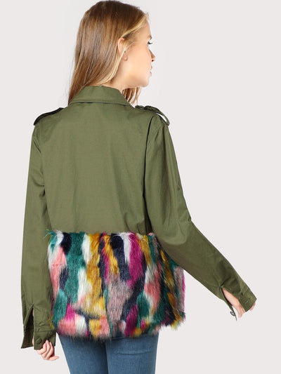 Colorful Faux Fur Trim Utility Jacket img 2