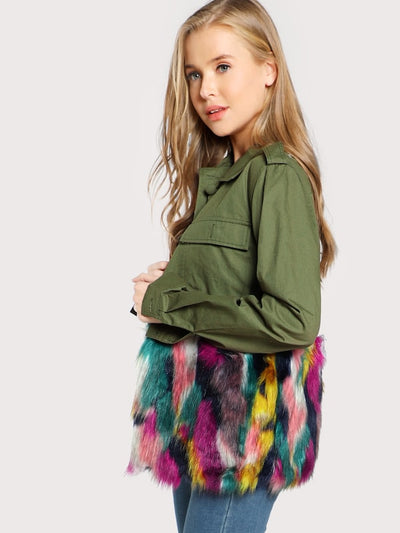 Colorful Faux Fur Trim Utility Jacket img 1