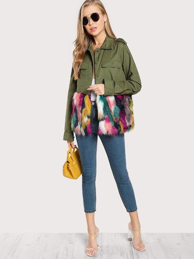 Colorful Faux Fur Trim Utility Jacket img 4
