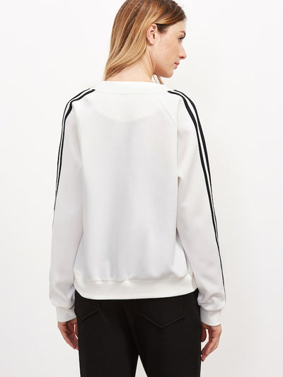 Striped Sleeve Bomber Jacket img 1