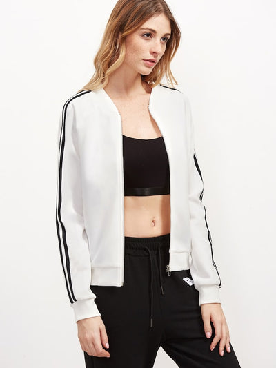 Striped Sleeve Bomber Jacket img 4