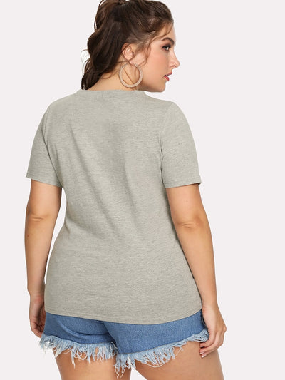 Plus Facing Print Heathered Tee img 3