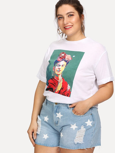 Plus 3D Flower Applique Portrait Tee img 2