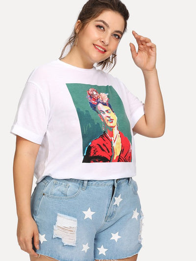 Plus 3D Flower Applique Portrait Tee img 3