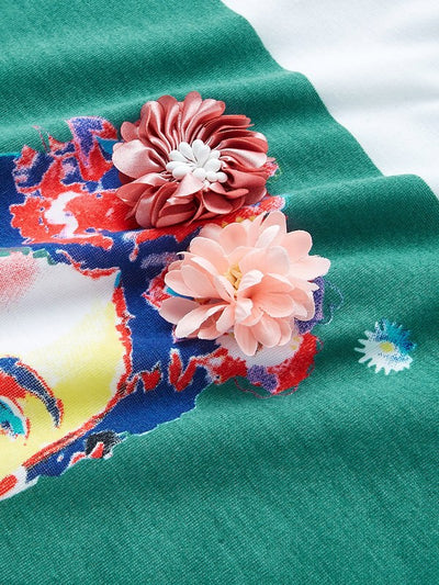 Plus 3D Flower Applique Portrait Tee img 4