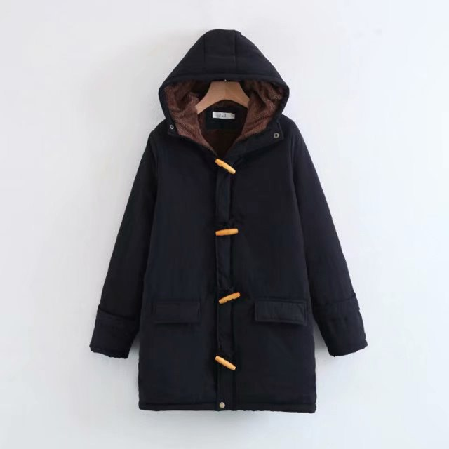 Parkas Thickening Hooded Long Sleeve Women'S Jacket Horn Buckle Cotton Long Clothes Plus Size Warm Coat img 1
