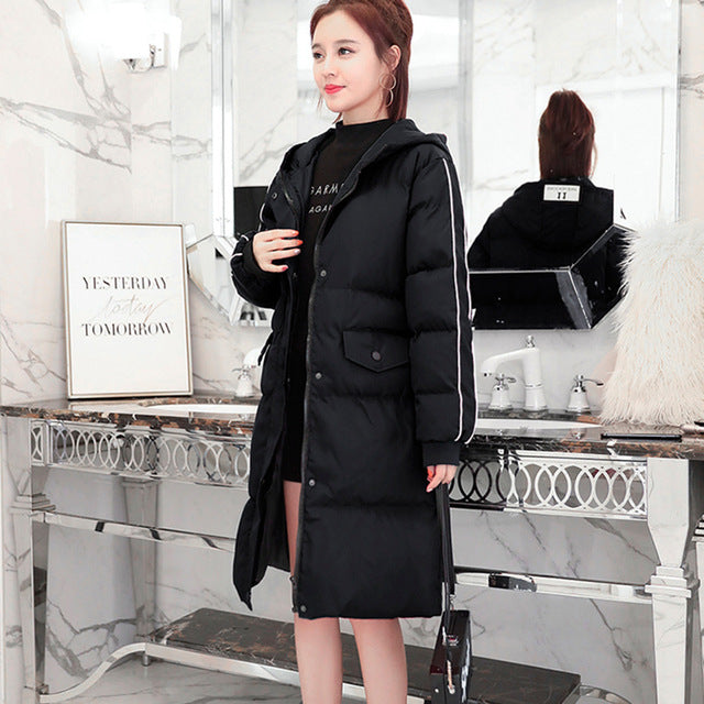 Women Winter Hooded Warm Coat Plus Size Cotton Padded Jacket Long Parka Wadded Jaqueta img 1