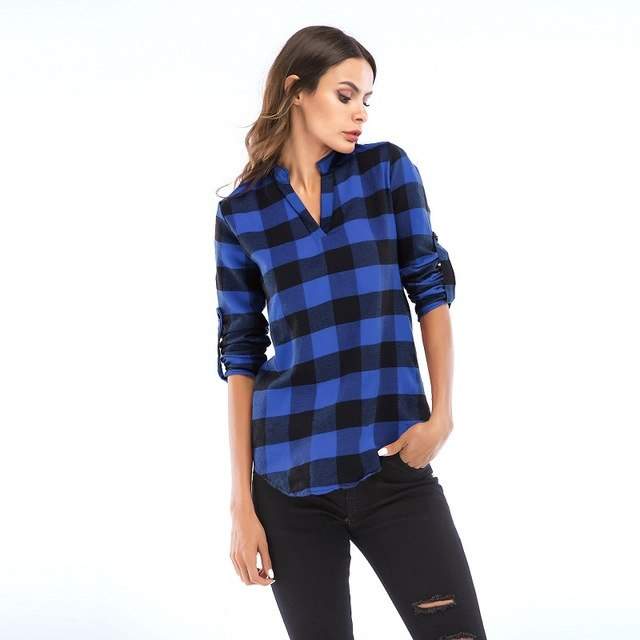 Plaid Shirt College Women'S Blouses Long Sleeve Shirt Plus Size Casual Blouses Shirts S-6Xl img 1
