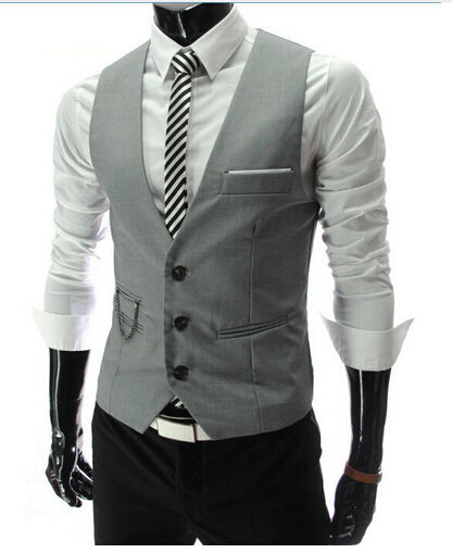 Dress Vests Men Slim Fit Mens Suit Vest Male Waistcoat Gilet Homme Casual Sleeveless Formal Business Jacket img 1