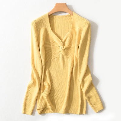 Spring Autumn Women'S V-Neck Wool Sweater Slim Pullover Tight Knit Bottoming Cashmere Sweater Jacket img 2