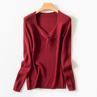 Spring Autumn Women'S V-Neck Wool Sweater Slim Pullover Tight Knit Bottoming Cashmere Sweater Jacket img 4