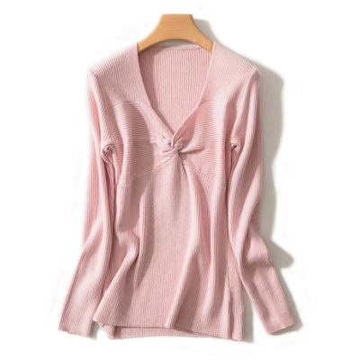 Spring Autumn Women'S V-Neck Wool Sweater Slim Pullover Tight Knit Bottoming Cashmere Sweater Jacket img 1