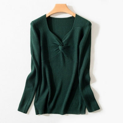 Spring Autumn Women'S V-Neck Wool Sweater Slim Pullover Tight Knit Bottoming Cashmere Sweater Jacket