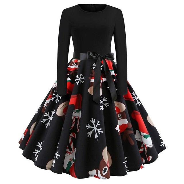 Winter Christmas Dresses Women Vintage Robe Swing Pinup Party Dress Long Sleeve Casual Plus Size Print Black