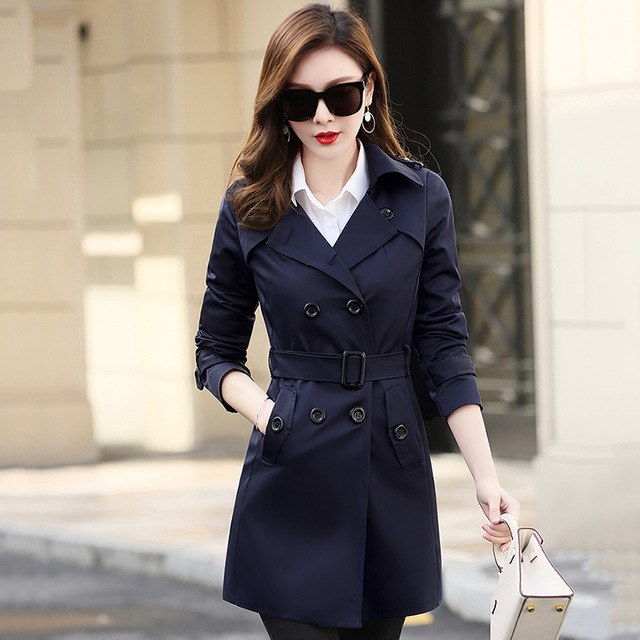 Autumn Self-Cultivation Women Small Windbreaker Plus Size S-6Xl Loose Mid-Long Femme Solid Color Casual Trench Coat Tide Mz2888 img 1