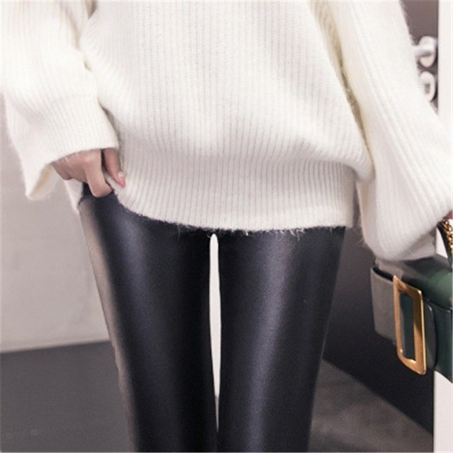 Imitation Leather Pants Winter Women'S Leggings Plus Velvet Thick Autumnwarm Thick&Thin Imitation Leather Pants Plus Size 1Sa28 img 1
