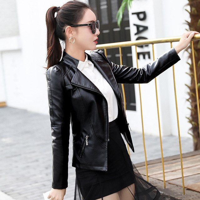 Short Pu Leather Jacket Spring 5Xl Long-Sleeve Slim Was Thin Motorcycle Leather Jacket Women Tide Jaqueta Mz2218 img 1