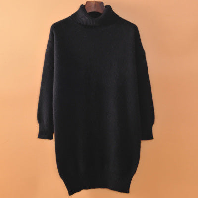 Medium-Long Thickening Cashmere Turtleneck Sweater Knitted Pullover Loose Plus Size Maternity Marten Velvet Sweater Basic Shirt img 1