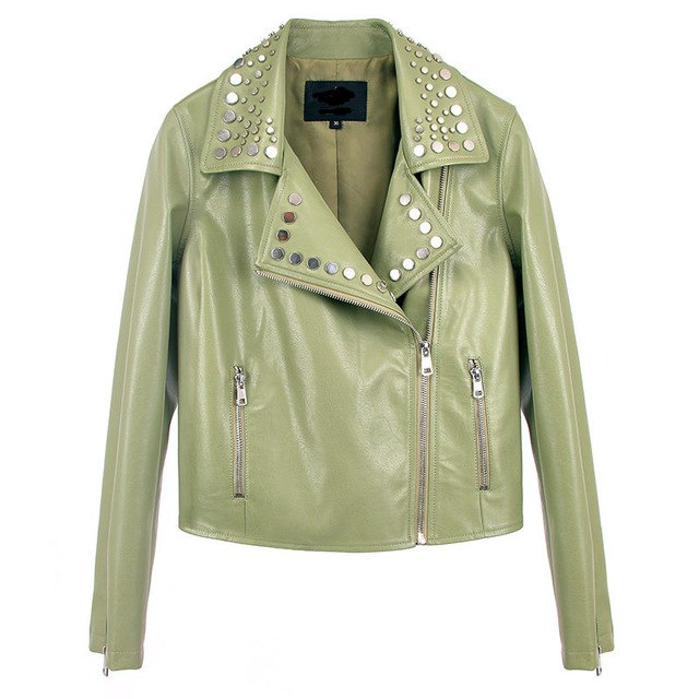 Pu Leather Small Solid Color Rivet Women Slim Was Thin Leather Jacket Wild Long-Sleeved Femme Locomotive Jacket Mz2952 img 1