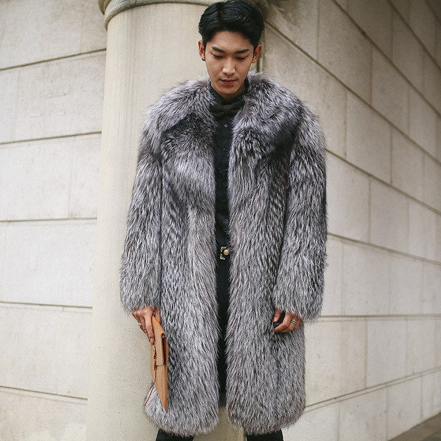 Specials Imitation Fur Coat Imitation Fox Fur Long Coat Men Silver Fake Fur Plus Size 5Xl Male Warm Winter Jacket Mz3031 img 1
