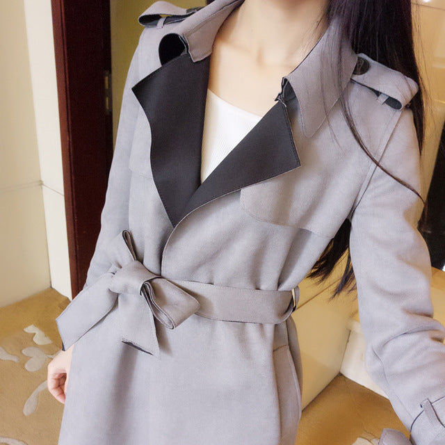 Women Slim Suede Windbreaker Chic Spring Solid Color Plus Size 3L Long Knee Length Femme Trench Coat Mz2886 img 1