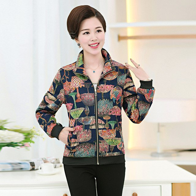 Women Spring Xl- 5Xl Jackets Short Tops Long Sleeve Floral Print Coat Vintage Clothing Bomber Jacket Chaquetas Mujer Mz1439 img 1