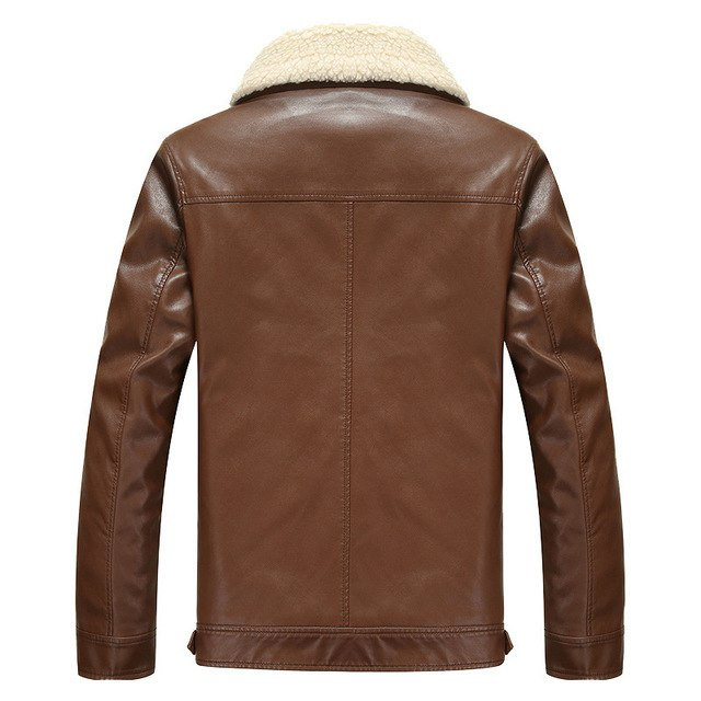 Pu Leather Men Jackets Stand Collar Plus Size Sheep Cashmere Warm Casual Jacket Winter Imitation Sheepskin Chaqueta Mz2086 img 1