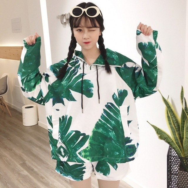 Plus Size Hooded Bomber Jacket Bf Graffiti Streetwear Camouflage Coat Harajuku Befree Jacket Women Bf Coat img 1