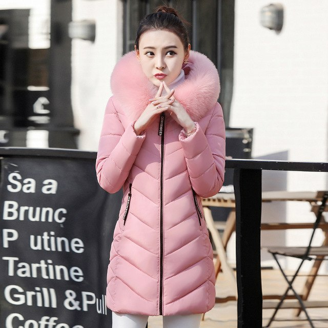Plus Size Winter Women Jacket Long Thick Parka Jacket Big Fur Hooded Winter Coat Warm Down Cotton Jackets Women Jaqueta img 1