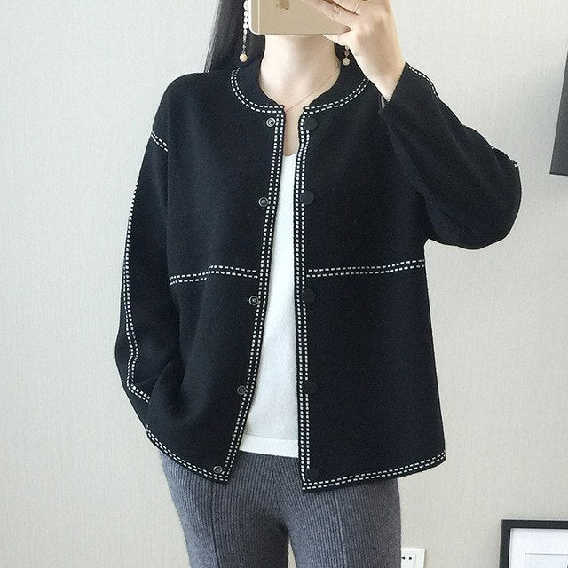 Spring Autumn Women'S Cashmere Cardigan O-Neck Single-Breasted Jacket Solid Loose Wool Knit Coat img 1
