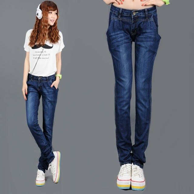 Spring Harem Pants Loose Jeans Feet Pants Slim Was Thin Plus Size Solid Color Denim Trousers Mz994 img 1