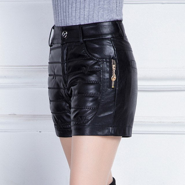 Winter Leather Shorts Women Plus Size High Waist Slim Outwear Boots Pu Leather Cotton Shorts Femme Black Warm Trousers Mz2973 img 1
