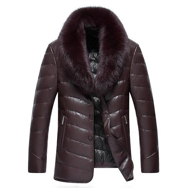 Winter Large Real Fox Fur Collar Leather Down Jacket Men Simulation Leather Mid-Length Thick Pu Leather Warm Parkas Mz1883 img 1