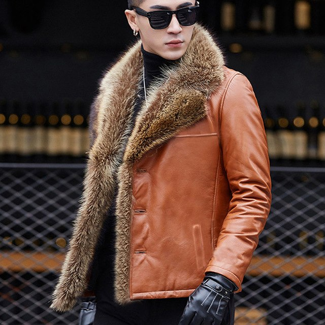 Winter Real Sheep Leather Coat Male Raccoon Fur Collar Plus Size 5Xl Fur One Leather Men Short Jacket Large Fur Warm Tops Mz3268 img 1