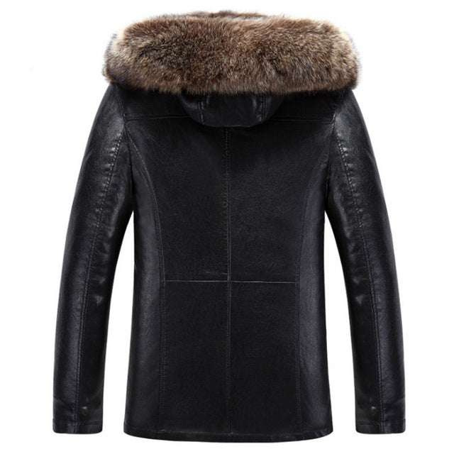 Winter Thick Fur One Leather Middle-Aged Men Plus Size Raccoon Large Fur Collar Sheep Sheared Pu Leather Warm Jacket Mz3035 img 1