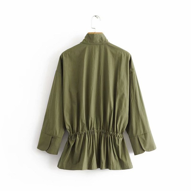 Autumn Vintage Jackets Coat Pullover Highstreet Office Lady Jacket Long Sleeve Pleated Army Green Casual Chic Outerwear img 1