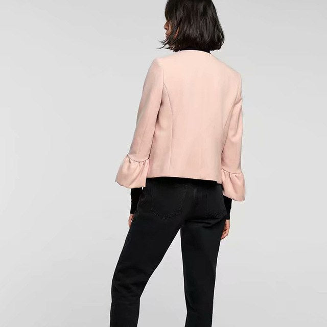 Pink Coat Women Pleated Flare Sleeve O Neck Buttons Coats Sweet Casual Cute Outerwear Tops Women'S Jacket img 1