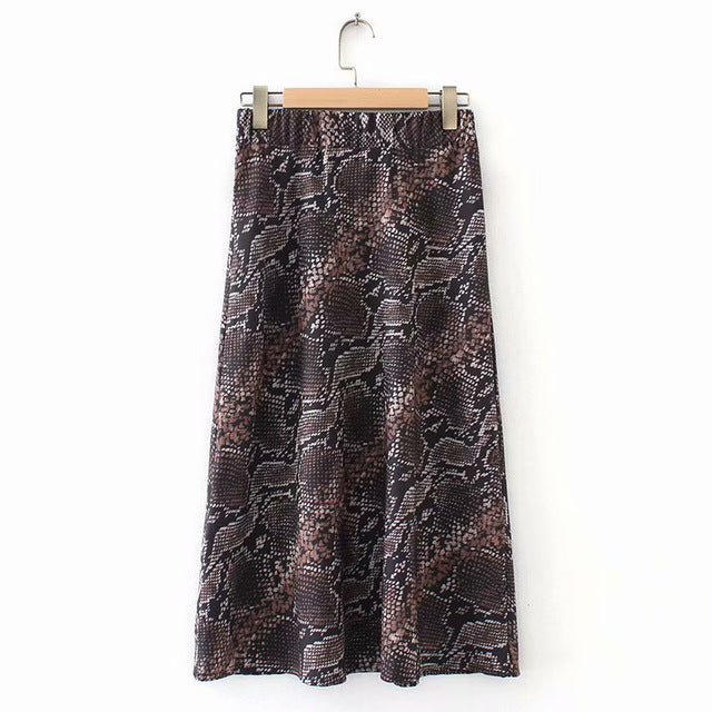 Spring Snake Print Skirt Elastic Waist Casual Knee Length Skirts Plus Size Woman Skirts Stylish Women'S Clothing img 1