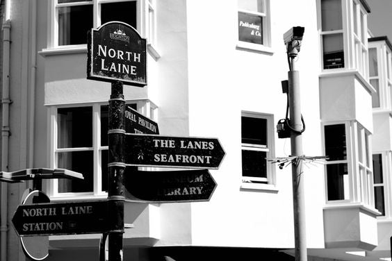 Signposting showing the Lanes in Brighton
