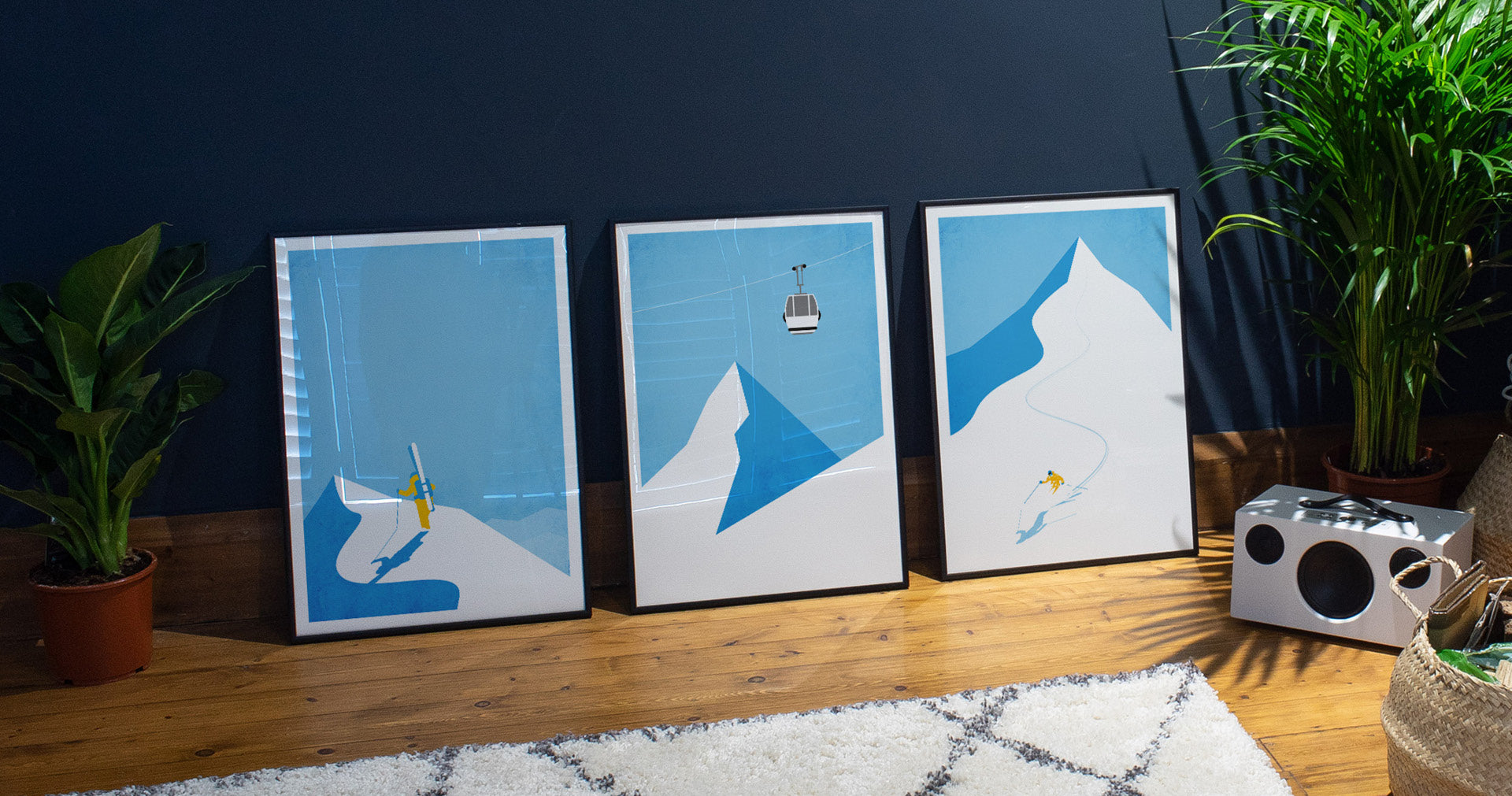 ski and snowboard art prints and winter travel posters
