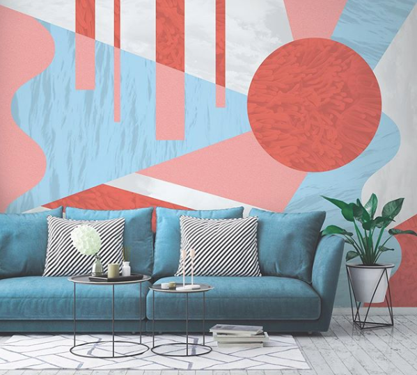 image of geometric living room design with graphic patterned wall and blue sofa from @mdbillustration