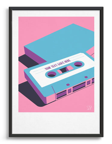 Retro art print showing a bright blue cassette tape on a bright pink background