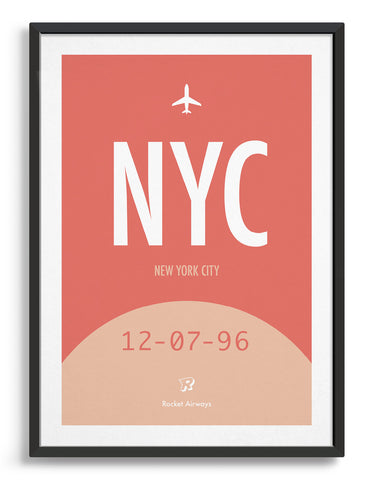 Retro travel poster in red and pink with space for destination airport, custom date and name
