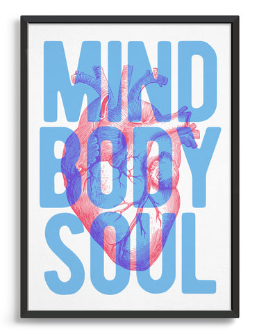 heart mind body and soul typography print with vintage pink heart illustration