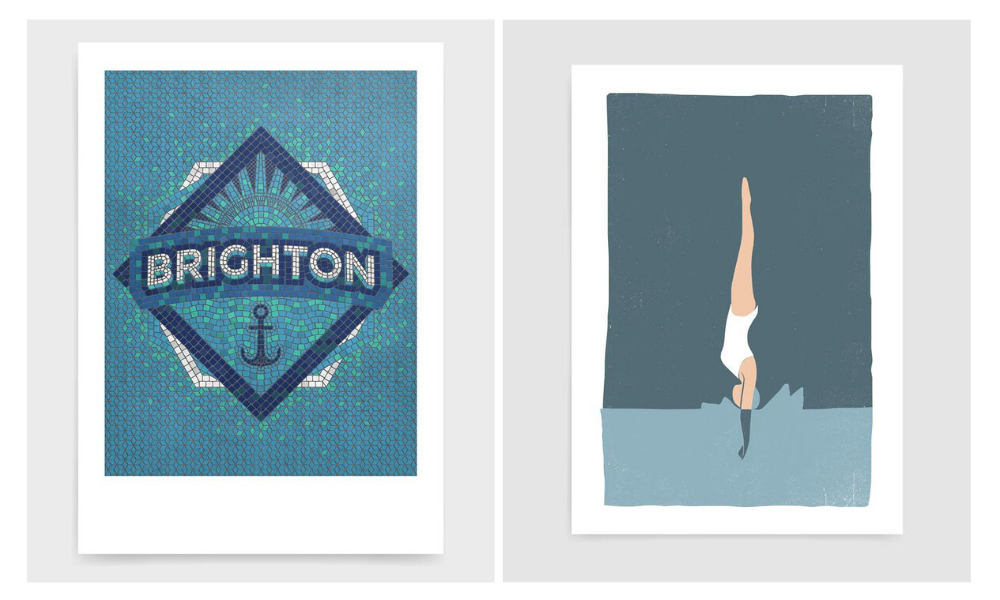 Two Rocket Jack prints side by side. Left hand shows Brighton mosaic print and right hand show woman diving into a pool of water. Both are blue in colour